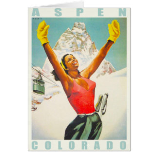 Greeting Card with Vintage Ski Print from Aspen