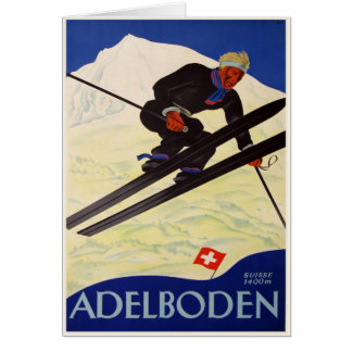 Greeting Card with Vintage Ski Resort Print