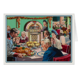 Greeting Card with Vintage Thanksgiving Meal