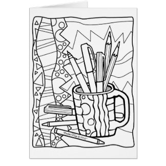 GREETING CARD You COLOR - A CUP FULL OF COLORING
