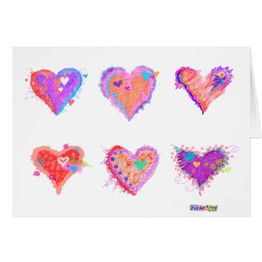 Greeting Cards - Pop Art Crazy Hearts 2