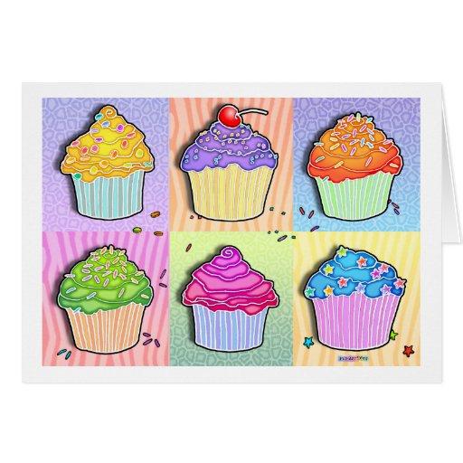 Greeting Cards - Pop Art Cupcakes
