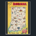 "Greeting from Indiana vintage postcard<br><div class=""desc"">This is a reproduction of a vintage postcard with &quot;Greeting from indiana&quot; and a map of this cool states. This is cool if you live in indiana, but even if you only have been there for tourism, or even if you never set a foot in Indiana, this vintage style will...</div>"