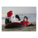 Greeting Inside Santa's gives surfing lessons Card