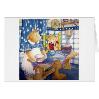 "Greeting map water color Design ""teddy bear Card"