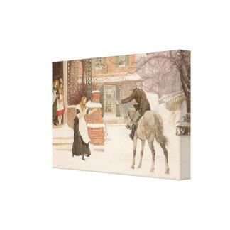 Greeting Postman by Macbeth, Vintage Victorian Art Canvas Print