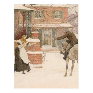 Greeting Postman by Macbeth, Vintage Victorian Art Postcard