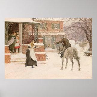 Greeting Postman by Macbeth, Vintage Victorian Art Poster