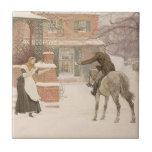 Greeting Postman by Macbeth, Vintage Victorian Art Tile