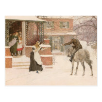Greeting the Postman by Robert Walker Macbeth Postcard