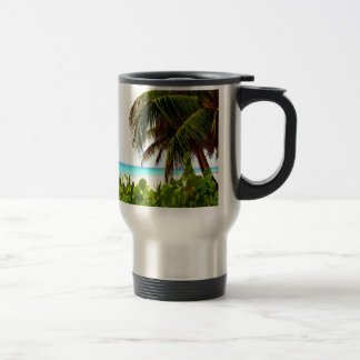 Greeting to the open world beach and ocean travel mug