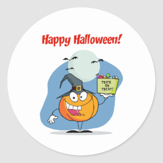 Greeting With Pumpkin holds bucket of can Classic Round Sticker