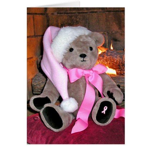 GreetingCard-Breast Cancer Teddy  Bear Greeting Card