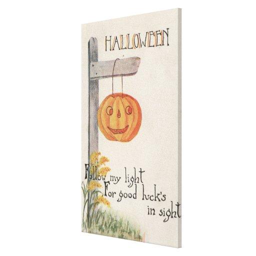 GreetingJack-O-Linterna de Halloween en el poste Impresión En Lona