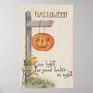 GreetingJack-O-Linterna de Halloween en el poste Póster
