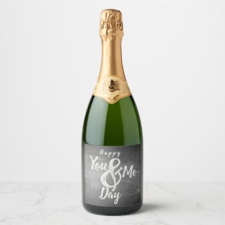 Greetings anniversary in chalkboard look champagne label