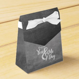Greetings anniversary in chalkboard look favor box