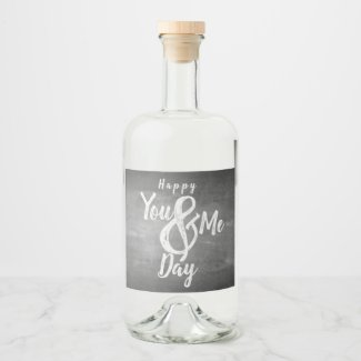 Greetings anniversary in chalkboard look liquor bottle label