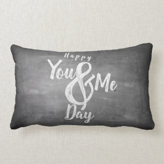 Greetings anniversary in chalkboard look lumbar pillow