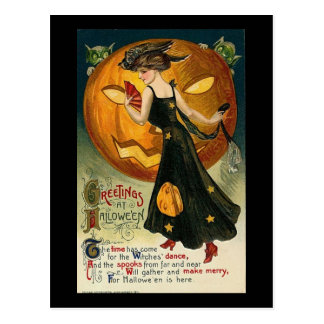 Greetings at Halloween the Time has Come Postcard