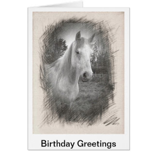 Greetings card for a birthday Whith Horse Picture