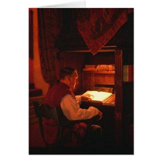 Greetings card old man reading