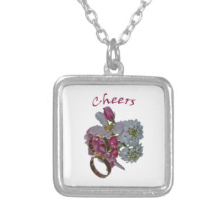 Greetings -Cheers Silver Plated Necklace