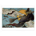 Greetings For Halloween Flying Witch and Bats Postcards