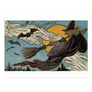 Greetings For Halloween Flying Witch and Bats Postcard