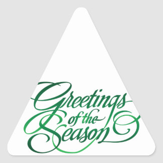 Greetings for the Season - Green Triangle Stickers