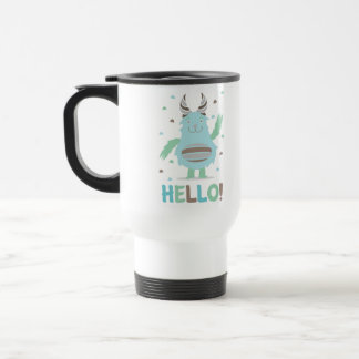 Greetings from a friendly blue monster 15 oz stainless steel travel mug