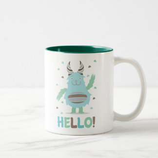 Greetings from a friendly blue monster Two-Tone coffee mug