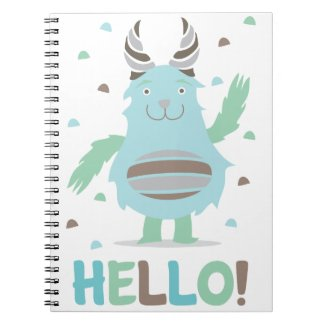 Greetings from a friendly blue monster spiral note books