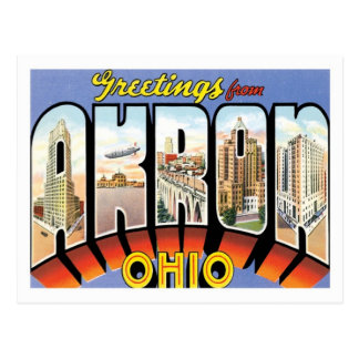 Greetings From Akron Ohio US City Postcard