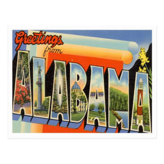 Greetings From Alabama Vintage Postcard