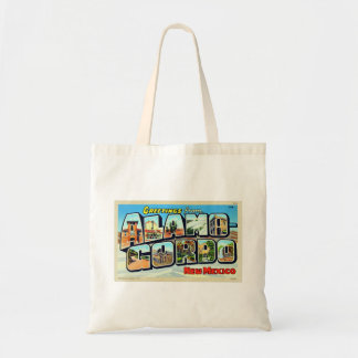 Greetings From Alamogordo NM Letter Postcard Canvas Bags