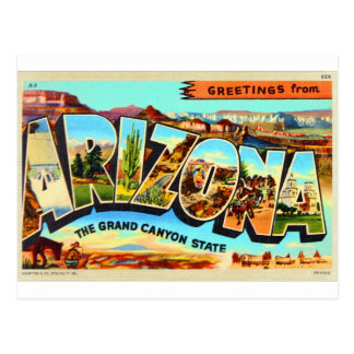 Greetings From Arizona Letter Travel Postcard