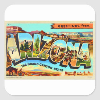 Greetings From Arizona Letter Travel Postcard Square Sticker