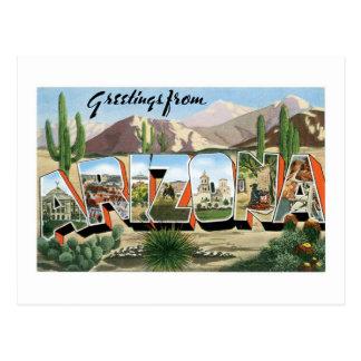 Greetings from Arizona! Retro Catcus Desert Postcard