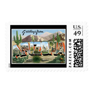 Greetings from Arizona! Retro Road Trip Post Card Postage Stamp