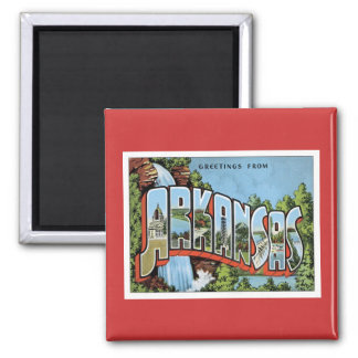 Greetings From Arkansas 2 Inch Square Magnet