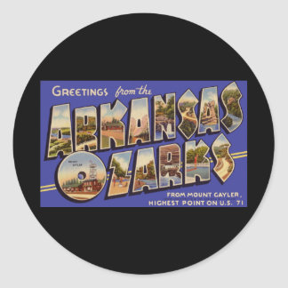 Greetings from Arkansas Ozarks Classic Round Sticker