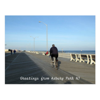 Greetings from Asbury Park NJ - Bicyclist Postcard