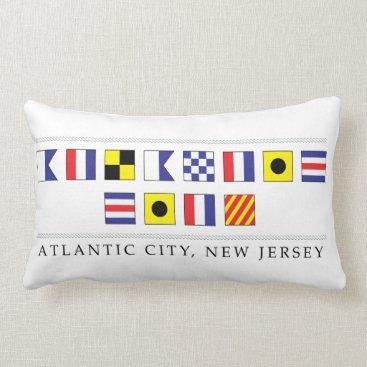 Beach Themed Greetings from Atlantic City Lumbar Pillow