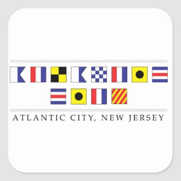 Beach Themed Greetings from Atlantic City Square Sticker