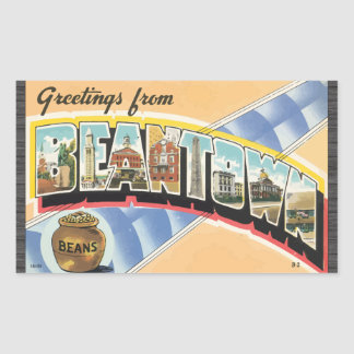 Greetings From Beantown Beans Vintage Rectangular Stickers