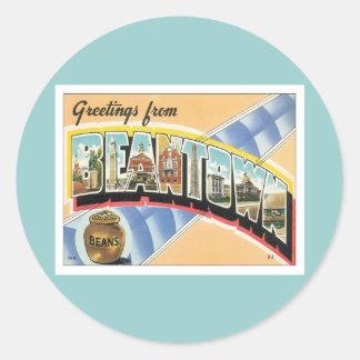 Greetings From Beantown Boston Round Sticker