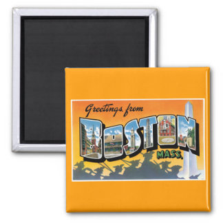 Greetings from Boston! 2 Inch Square Magnet