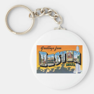 Greetings From Boston, Mass Basic Round Button Keychain