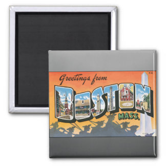 Greetings From Boston Mass., Vintage 2 Inch Square Magnet